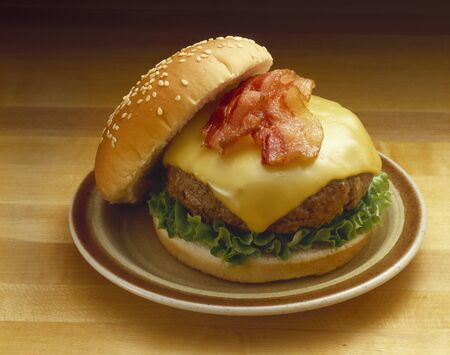sesame seed bun: Bacon Cheeseburger on Sesame Seed Bun; On Plate LANG_EVOIMAGES