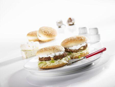 tzatziki: Greek-style hamburger with tzatziki
