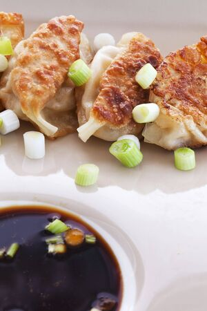 potstickers: Shrimp Potstickers with Green Onion and Ponzu Dipping Sauce