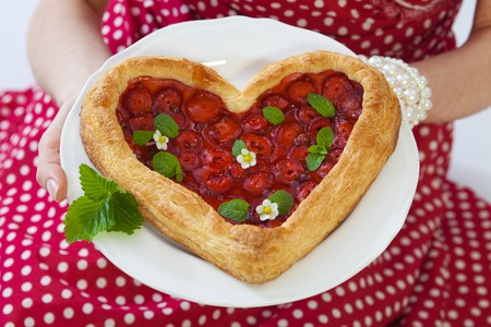heartshaped: Heart-shaped strawberry puff pastry tart