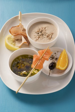 tunafish: Tuna fish and white wine sauce and an olive and caper marinade with oranges