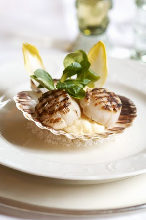 broiling: Grilled scallops served in their shells LANG_EVOIMAGES