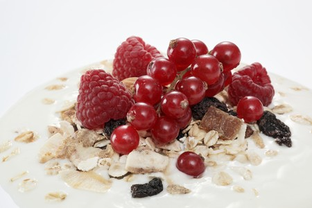 dollop: Berry muesli on a dollop of yogurt (close-up)
