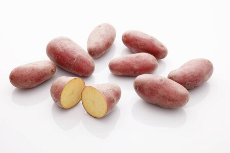 tuberous: Roseval potatoes, whole and halved