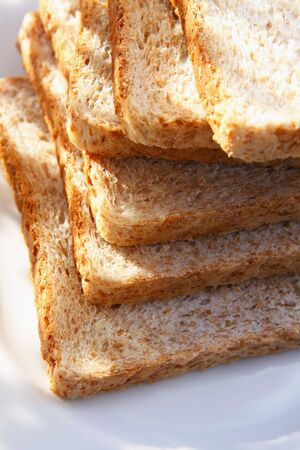 several breads: A stack of wholemeal toast