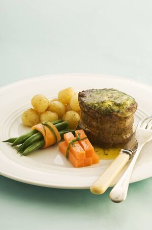 side of beef: Beef fillet with parsley butter and a side of vegetables
