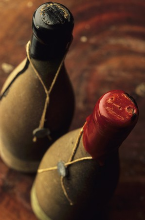 twos: Two old wine bottles