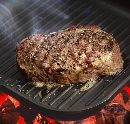 beefsteak: Beefsteak on a barbecue
