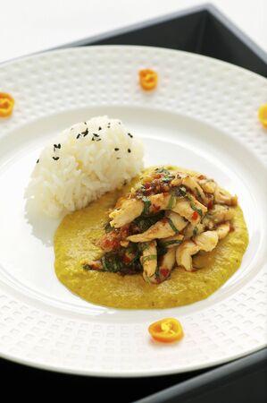 chicken curry: H�hnchencurry mit ged�mpftem Reis (Asien)