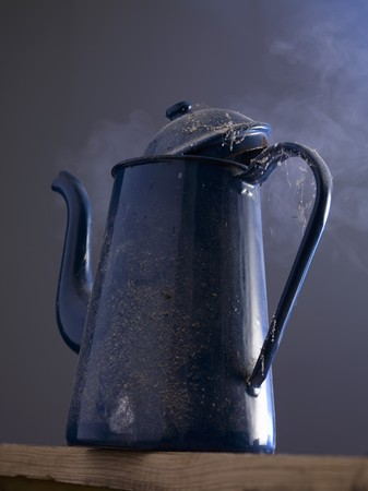 coffeepots: An old coffee pot steaming