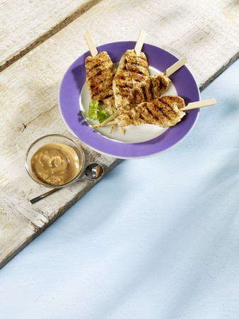 sates: Grilled chicken satay kebabs with a peanut dip