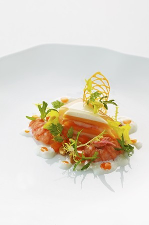 pine kernels: Crayfish salad with a pumpkin and sour cream tartlet and pine nuts LANG_EVOIMAGES