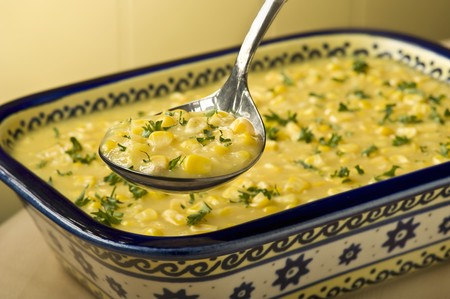 creamed: Antique Serving Spoon of Creamed Corn; Creamed Corn in Serving Dish