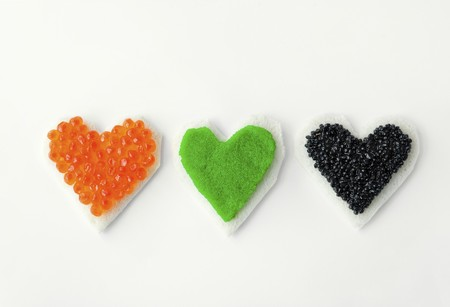 heartshaped: Three heart-shaped canapes with colourful caviar