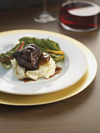 red braised: Braised beef ribs on mashed potatoes with chard and red wine