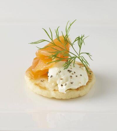 blini: A blini with cream cheese and smoked salmon LANG_EVOIMAGES