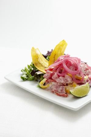 tunafish: Ceviche de Atun; Ceviche with Tuna, Coconut Milk and Pickled Onions