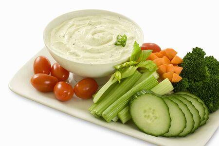 crudite: Platter of raw vegetables with dip