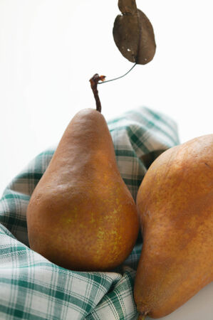 brownness: Brown pears on checked cloth