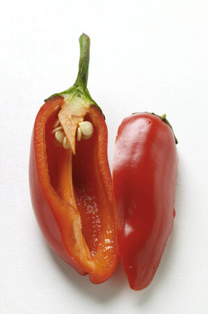 red chili pepper: Red chili pepper, halved