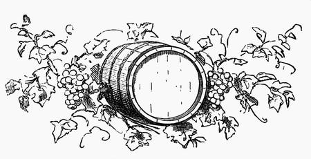casks: Wine barrel among grapes and vine leaves (illustration)