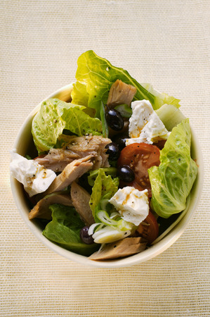 tunafish: Romaine lettuce with tuna, sheeps cheese, tomatoes & olives