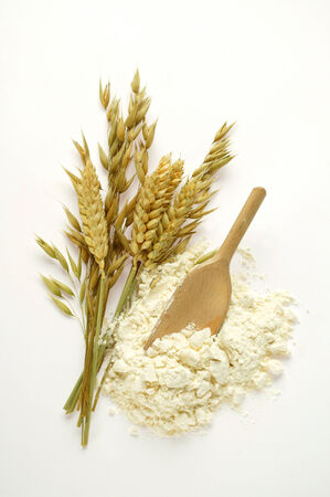 wooden scoop: Various cereal ears and flour with wooden scoop LANG_EVOIMAGES