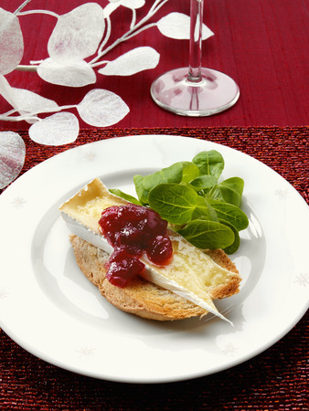 vaccinium macrocarpon: Melted Brie with cranberry sauce on toasted bread LANG_EVOIMAGES