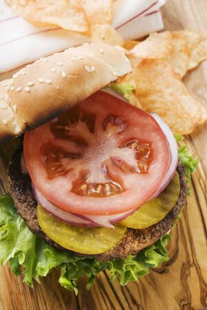 barbecues: Home-made hamburger with gherkins, onions, tomato LANG_EVOIMAGES