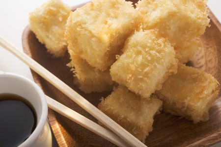 beancurd: Breaded tofu cubes with soy sauce (Asia)