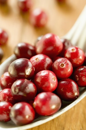 vaccinium macrocarpon: Several cranberries on spoon