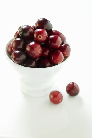 vaccinium macrocarpon: Cranberries in white bowl