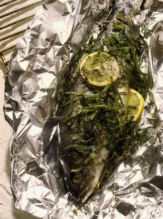 salmo trutta: Trout with herbs in aluminium foil