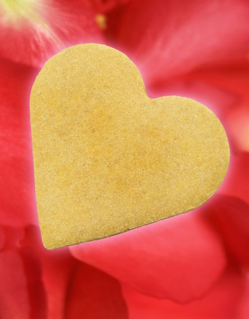 shortbread: Shortbread cookie on rose petals for Valentine's Day