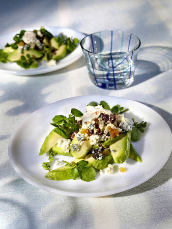 watercress: Avocado salad with dried fruit and watercress