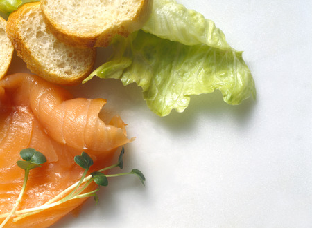 several breads: Salmon; French Bread & Lettuce LANG_EVOIMAGES