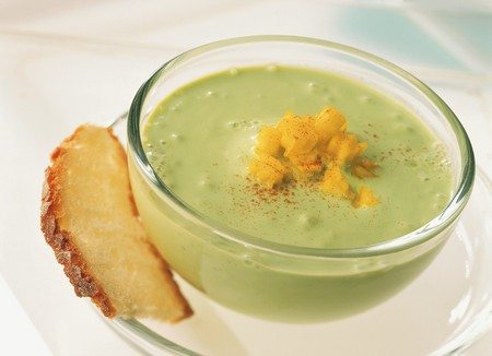 creamed: Creamed avocado soup with diced mango