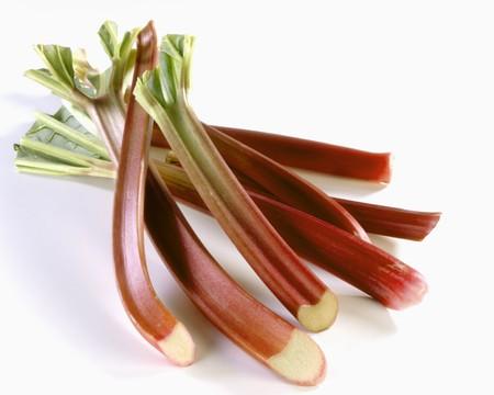 rheum: Several sticks of rhubarb