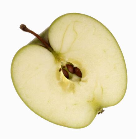 granny smith: Half a Granny Smith apple