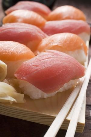 tunafish: Nigiri sushi with tuna and salmon
