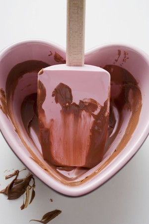 overs: Heart-shaped bowl with mixing spoon & remains of chocolate sauce