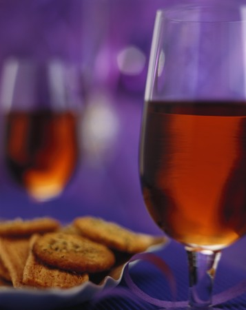 fortified: Two glasses of sherry and nibbles