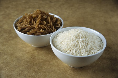 gi: Picture symbolising GI diet: carbohydrates from wholemeal pasta & rice