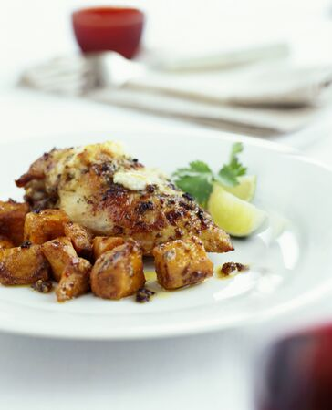 sweet course: Roast chicken with sweet potatoes