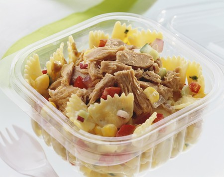 tunafish: Pasta salad with tuna in plastic container