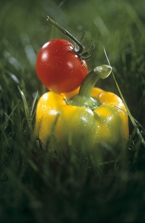 sweet grasses: A yellow pepper and a tomato in grass