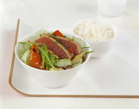 seared: Seared tuna fillets on salad