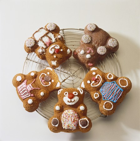 childs birthday party: Four chocolate bears (sponge mixture)