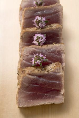 seared: Seared tuna, sliced