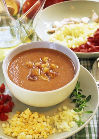 andalusian cuisine: Gazpacho (Cold vegetable soup from Andalusia, Spain)